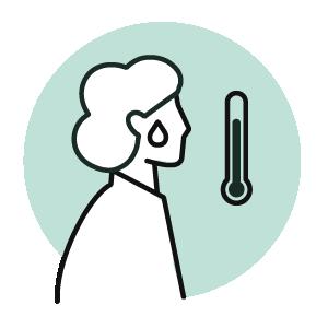 Ikon - Bli hjemme når du er syk med luftveissymptomer eller feber.
